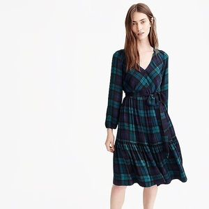 J. Crew Drapey Dress in Black Watch Plaid NWT